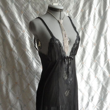 ON SALE 60s Lingerie // Vintage 1960s Black Knife Pleated Plunge Chiffon Lace Nightgown by Glydons Hollywood Size S  34