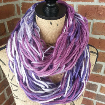 Wool Arm knitted infinity scarf, purple ombre, neutral scarf, knit scarf, infinity scarf, Bulky arm knit scarf, fall scarf, shades of purple