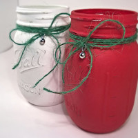 Christmas Mason Jars - Distressed Mason Jar - Mason Jar Set - Christmas Gift - Christmas Decor - White Jar - Red Jar - Holiday Mason Jar