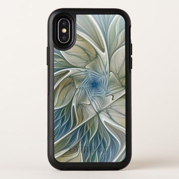 Floral Dream Pattern Abstract Blue Khaki Fractal OtterBox Symmetry iPhone X Case