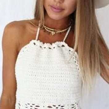 White Sleeveless Crochet Crop Top