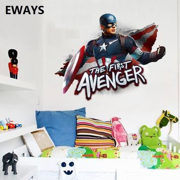 EWAYS DIY Avenger Captain America Character Wall Stickers Suitable For The Living Room Home Decor Art Posters