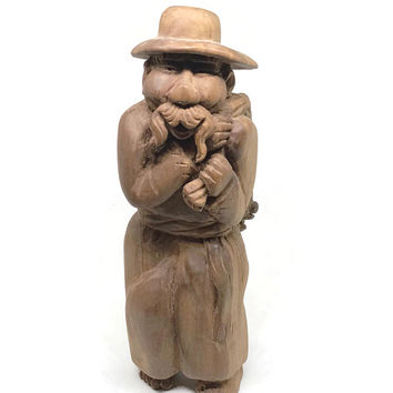 Hand Carved Farmer, Anri Toriart Wood Farmer with Pig, Made in Italy, Rustic Home Decor