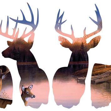 4 Deer Silhouette Hunting Background Large Wall Decals 4 design choices