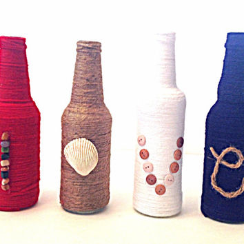 Wrapped bottles, twine wrapped, yarn wrapped, beach theme, wedding centerpiece, love bottles, wrapped bottles, shell decor, twine bottles