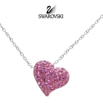Swarovski Rose Crystal EROS Heart Pendant Rose Necklace Rhodium #5007736