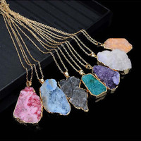 Natural Crystal Quartz Healing Point Chakra Bead Necklace Pendant