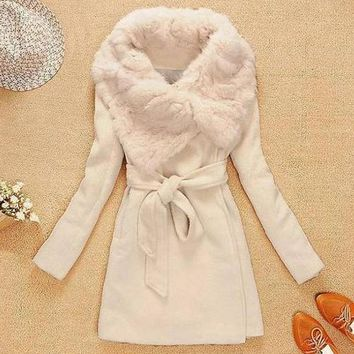 Fashionable Solid Color Lace-Up Long Sleeve Women's Coat
