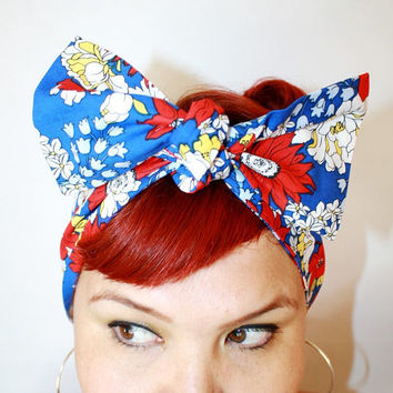 Bow hair tie, Vintage Inspired Head scarf, Red Blue and Yellow Floral Print