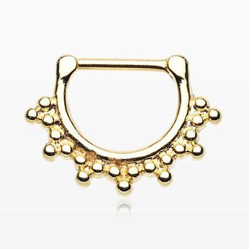 Golden Bali Spherule Beads Septum Clicker