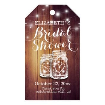 Rustic Wood Mason Jar String Lights Bridal Shower Gift Tags