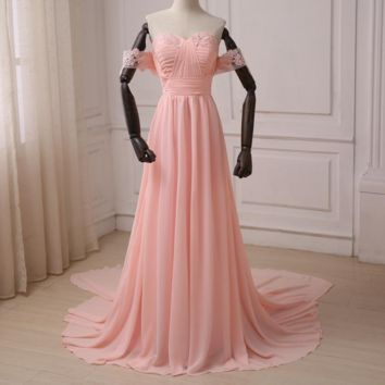 Pink Beach Wedding Dresses Chiffon Off the Shoulder Applique Pleats A-line Women Wedding Gowns with Detachable Train