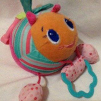 Bright Starts plush Pink Teal Striped Polka Dots BEE Baby Car Seat Toy Taggie