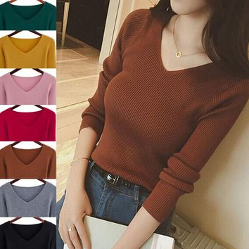 Autumn Fashion Women Sweater Elegant Female Thin V Neck Sweaters Women Slim Long Sleeve Knitted Pullovers Tight Sweater elastic