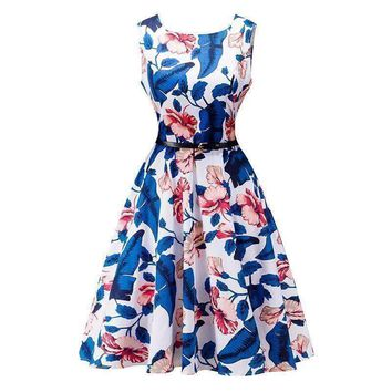 Classic Flower Print Fit and Flare Women Midi Dress