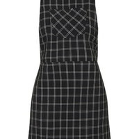 PETITE Check Pinafore Dress - Monochrome