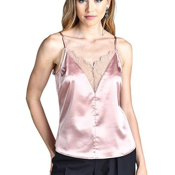 Adjustable cami straps fashion satin top