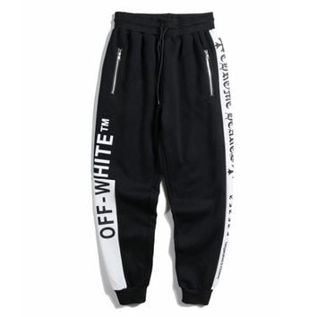 OFF WHITE Fashionable Retro Casual Print Running Sport Stretch Pants Trousers Sweatpants