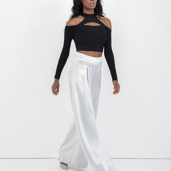 THE DOSSIER WIDE LEG PANT - SILVER