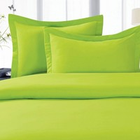 Elegant Comfort ® 1500 Thread Count WRINKLE RESISTANT ULTRA SOFT LUXURIOUS Egyptian Quality 3-Piece Duvet Cover Set 100 % HypoAllergenic, SOLID, Full/Queen, Lime
