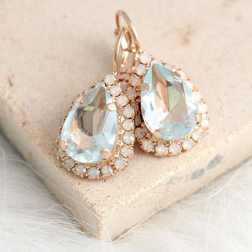 Aquamarine Earrings, Light Blue Earrings, Bridal Aquamarine Drop Earrings, Opal Drop Earrings, Light Azore Earrings, Swarovski Earrings