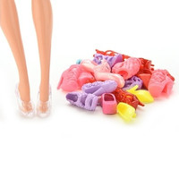 12 Pairs Cute Colorful Assorted Shoes for Barbie Doll with Different Styles linlinzhu