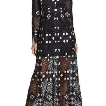 BCBG Taliah Long-Sleeve Maxi Dress
