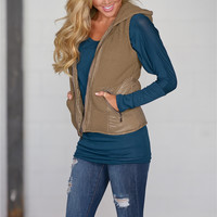 Hard Act To Follow Knit Puffer Vest - Mocha