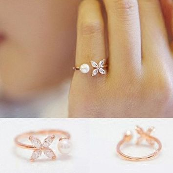 CREYCT9 Jewelry Gift New Arrival Shiny Simple Design Leaf Floral Pearls Korean Accessory Stylish Ring [8380586375]