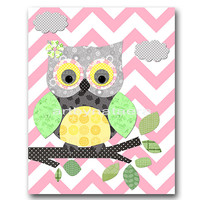 Owl Decor Owl Nursery Baby Girl Nursery Decor Baby nursery print children art print Nursery Print Girl Art 8x10 owl rose yellow green gray