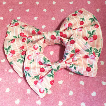 Striped Cherry Bow