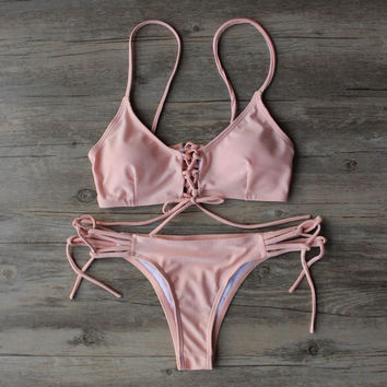 Pink Bikini Set Swimsuit Beach Bathing Suits