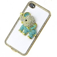 Genuine Luxury White Litchi Rind Leather Around Rhinestone Crystal Diamond Sky blue Elephant Case Cover for Iphone 4 4s