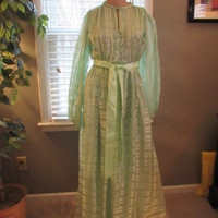 60s 70s Bright Green Long Sleeve Boho Chic Maxi Dress / Victor Costa / Victor Costa Fashions / Vintage Victor Costa Clothing  / Festival