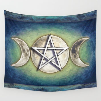 Moon Pentagram - Tripple Moon II Wall Tapestry by Dirk Czarnota