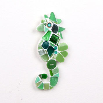 Mosaic Green Sea Horse Wall Decor, Beach Themed Decor
