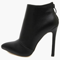 Black Pointed Back Zip High Heel Midi Boots