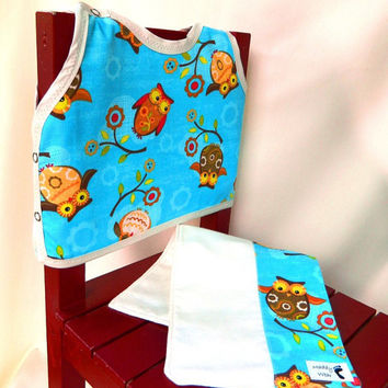 Baby Gift Set, Bib and Burp Cloth, Owl Theme Gender by maddywear