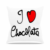 "Gabriela Fuente ""I Love Chocolate"" Food Typography Outdoor Throw Pillow"