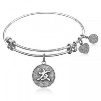 ac NOVQ2A Expandable Bangle in White Tone Brass with Chinese Friendship Bond Symbol