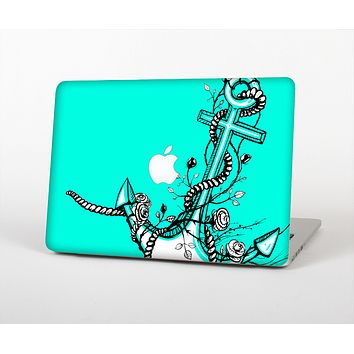 The Black and White Anchor with Roses on Trendy Green Skin for the Apple MacBook Pro 13""