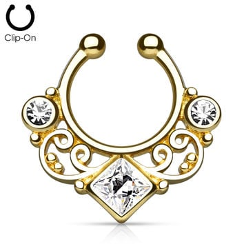 Gold Tribal Goddess Septum Clip-On