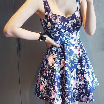 Blue Sleeveless Flounce Floral Dress