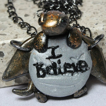 "Dragon Necklace Jewelry ""I Believe"" Polymer Clay"