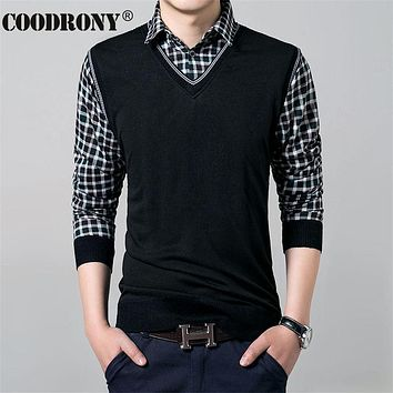 Winter Knitted Wool Twinset Vest Men Casual Plaid Sweater Shirt Men Cashmere Pullovers Men Cotton Pull Home