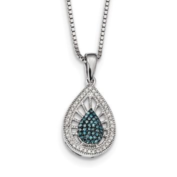 1/4 Ctw Blue & White Diamond Teardrop Necklace in Sterling Silver