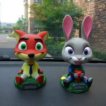 ZOOTOPIA Head Shaking Dolls Car Action Figure Toys Nodding Dolls Car-Styling Robot Head Shaking Toys Auto Ornament Decoration