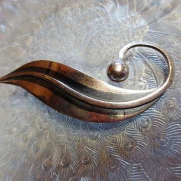 Vintage Delfino Brooch Taxco Modernist Sterling Silver Leaf Pin Mexico 925