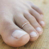 Thin Lightly Hammered 14k Gold Filled Toe Ring