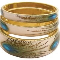 ZAD Set of 3 Peacock Feather Print Bangles